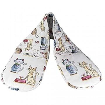 SPOTTED DOG GIFT COMPANY Doppelte Ofenhandschuhe Hitzebeständig Topflappen Backhandschuhe aus qualitäts weiß Baumwolle mit niedliches Katze Motiv Geschenk für Katzenliebhaber e Katzenfreunde