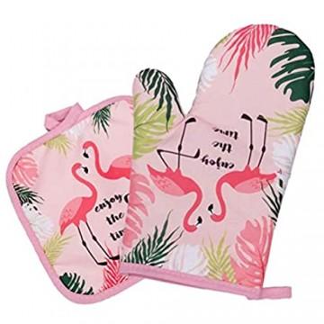 UPKOCH Ofenhandschuhe Topflappen Untersetzer hitzebeständig Flamingo-Muster Backhandschuhe für Hawaii-Party Grill Grau 2 Stück elfenbeinfarben M