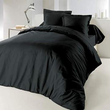 CDaffaires Bettdeckenbezug 240x220cm 100% Baumwolle 57 Fäden/cm² Kohlschwarz