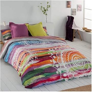 COTTON ARTean Wendbarer Bettbezug Mandala Aquarell für 150/160 cm breite Betten (240 x 260 cm) 50 % Baumwolle 50 % Polyester.