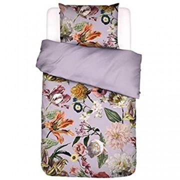 ESSENZA Bettwäsche Filou Blumen Pfingstrosen Tulpen Baumwollsatin Flieder 155x220 + 1 x 80x80 cm