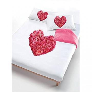 Italian Bed Linen Bettbezug Herz von Rose Pink/Weiß 150 x 200 cm rosa/weiß