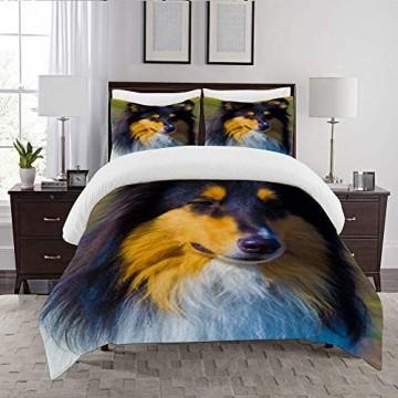 LENYOVO Bettbezug-Bettwasche Portrait of Collie Dog Mikrofaser 140x200cm mit 2 Kissenbezugen 50x80cm