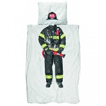 Snurk Dreaming Feuerwehrmann Bettbezug Perkal für Einzelbett Platzierter Druck weiß