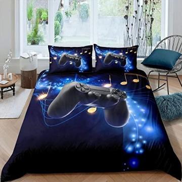Spielen Bettwäsche Set Jugendliche Neuheit Gamepad Spieler Bettbezug Blau Sternenklarer Himmel Dekor Weiche Bettdecke für Erwachsene Kinder Musiknoten Muster Videospiele Tagesdecke 155X220