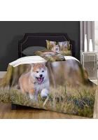 VICCHYY Bettbezug-Bettwasche Akita Inu Puppy Mikrofaser 140x200cm mit 2 Kissenbezugen 50x80cm