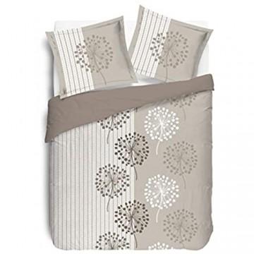 Vision Anna Bettbezug mit 2 passenden Kissenbezügen Baumwolle Beige 260 x 240 cm