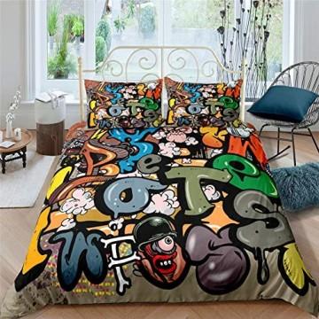 AYMAING Bettwäsche Set Graffiti Mega Coole Bunte Jugendzimmer Bettwäsche New York Street Art Design In Mikrofaser Mit Reißverschluss 135x200 cm + 80x80 cm
