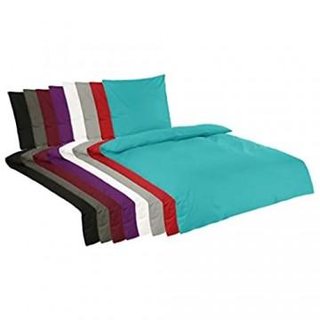 BaSaTex Renforce Bettwäsche Set Uni | 100% Baumwolle | Reißverschluss | 2 teilig | 135x200 cm + 80x80 cm | Farbe Grau