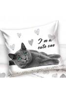 Carbotex Katze Kinder-Bettwäsche-Set 135x200 Baumwolle Kätzchen Bettzeug Bettwaren Kater Kitten