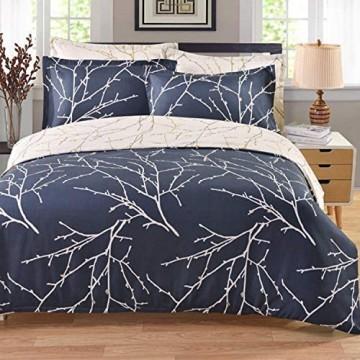 ENCOFT 3 Teilig Bettwäsche Set Milchig weiß Blau Super Weiche Bettwäsche inkl.Bettbezug 220x240cm und 2 Kissenbezüge 50x75 cm