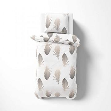 etérea Baumwolle Renforcé Bettwäsche - Federn - weich und angenehm auf der Haut 2 teilig 135x200 cm + 80x80 cm Weiß