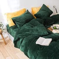 Lanqinglv Winter Bettwäsche 200x200cm Biber Dunkelgrün Grün Samtweichem Plüsch Flanell Unifarben Bettbezug mit Reißverschluss und 2 Kissenbezug 80x80cm