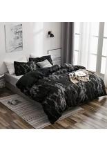Loussiesd Schwarz Marmor Bettbezug Set 155x220cm Bettwäsche mit Reißverschluss and Tie Super Weiche Atmungsaktive Mikrofaser Bettwäsche Set mit Kissenbezug