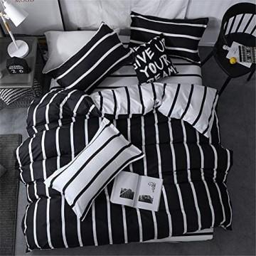 Morbuy Bettwäsche Bettbezug Set 3 Teilig Bettgarnitur Bettwäsche - Set Gemütlich 100% Mikrofaser mit Reißverschluss 1 Bettbezug + 2 Kissenbezug (135x200CM Schwarze und weiße vertikale Balken)