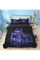 WONGS BEDDING Bettwäsche 3D Druck Modern Auto Bettbezug Set 135x200 cm Bettwäsche Set 2 Teilig Bettbezüge Mikrofaser Bettbezug mit Reißverschluss und 1 Kissenbezug 50x75cm für Jungen