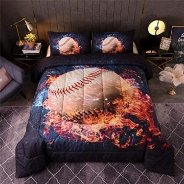 A Nice Night Baseball-Bettwäsche-Set 3D-Sport-Thema Mikrofaser Geschenk für Jungen Mädchen Teenager (Zwilling) 162 x 223 5 cm