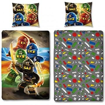 Character World Kinder Bettwäsche Set Lego Ninjago 135x200cm + 80x80cm Linon Baumwolle (Ninjago Red 100% Baumwolle Linon)