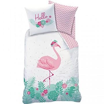FLAMINGO Bettwäsche Set · HELLO · Trendiger Flamingo Vogel / Tropical Blumen · Wende Motiv · rosa türkis - Kissenbezug 80x80 + Bettbezug 135x200 cm - 100% Baumwolle