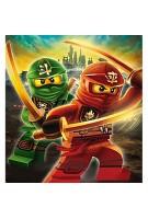 LEGO Bettwäsche Kompatibel Ninjago Motiv 135x200 cm + 80x80 cm Kinder und Jungen Linon 100% Baumwolle Mountain Ninjago Bettwäsche