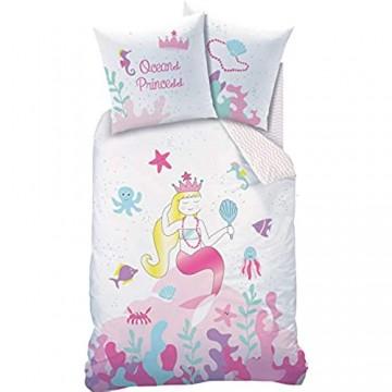 MEERJUNGFRAU Bettwäsche Kinder MERMAID Mädchen Kinderbettwäsche Bettbezug 135x200 Kissenbezug 80x80 OCEAN Princess OCEAN Girl rosa weiß bunt 100% Baumwolle