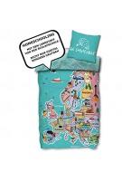 SkyBrands Kinderbettwäsche 135x200 cm 80x80 Kissenbezug Weltkarte EU Bettwäsche Kinder Homeschooling Baumwolle ÖKO TEX Standard Deutsche Größe