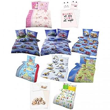 Unbekannt Biber Bettwäsche für Jungen und Mädchen Kinderbettwäsche mit verschiedenen Motiven in 135 x 200 cm (T-Rex)