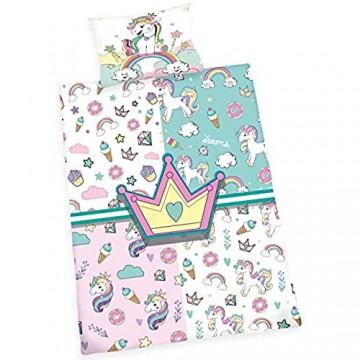 Wajade Kids Bettwäsche Einhorn 135x200 Mädchen Kinder Baumwolle Jugendliche Teenager - Einhornbettwäsche mit Reißverschluss Einhorn Motiv Kinder Bettwäsche Set Pferde Motiv Pferd rosa